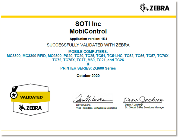 SOTI MobiControl v15.1 Zebra Solution Validation Certificate